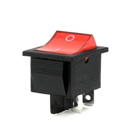 250V/15A 125V/20A 4-Pin DPDT I/O Red Light Panel Mounted Rocker Switch Panel Mount Rocker Switch