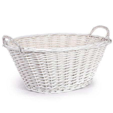 Oval Willow Utility Basket with Side Handles - White 20in