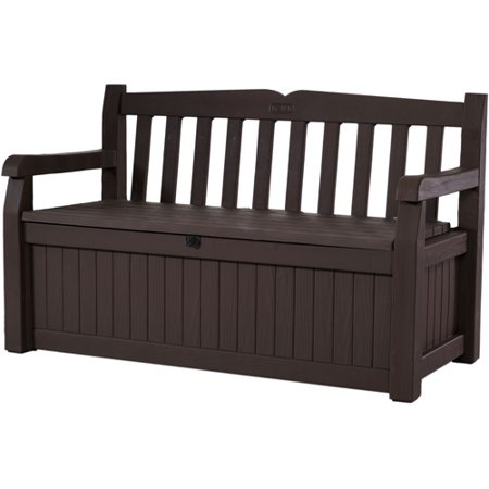 Keter Eden Outdoor Resin Storage Bench  All Weather Plastic Seating And Storage  70 Gal  Brown