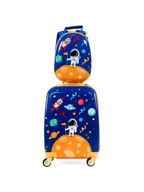 Costway 2PC Kids Luggage Set 18'' Rolling Suitcase & 12'' Backpack Travel ABS