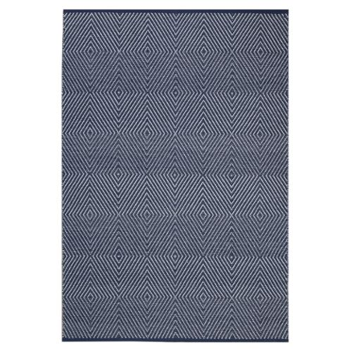 Fab Habitat Indo Hand-woven Zen Dark Blue/ Bright White Contemporary Flat-weave Area Rug (4' x 6')