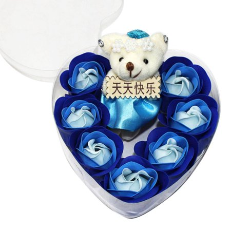7Pcs Scented Rose Flower Petal Bouquet Gift Box With Bear Bath Body Soap Gift Wedding Party Favor Rose Bouquet Box