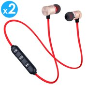 2-PACK Afflux Universal Bluetooth 4.0 Wireless Stereo Headset Sports Earphones In-Ear Earbuds Magnet Attraction Headphones with Mic for Cellphone Tablet iPhone 7 8 X XS Samsung Galaxy S8 S9 Note 8 9