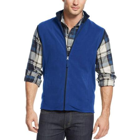 CLUB ROOM Big & Tall Full Zip Fleece Mockneck Vest Cargo Blue 2XLT Tall