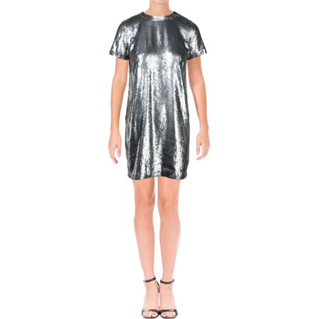 Lauren Ralph Lauren Womens Lamagda Sequined Above Knee Clubwear Dress Silver 4