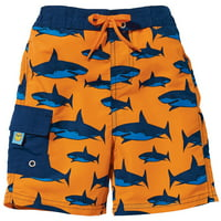Sun Smarties Baby Boy Swim Diaper - Orange with Blue Sharks - Swim Diaper Trunks - Size 12 Month
