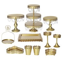 11Pcs Crystal Metal Cake Stands 3 Tier Princess Cupcake Holder Dessert Display Stand Decorative Stands for Wedding Birthday Party Cakes