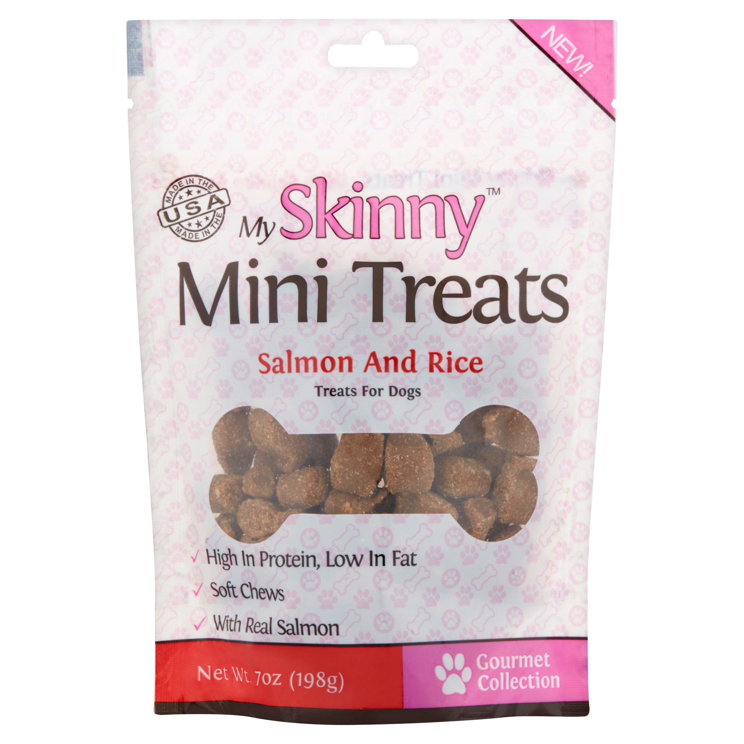 My Skinny Mini Treats Gourmet Collection Salmon & Rice Mini Treats for Dogs, 7 oz