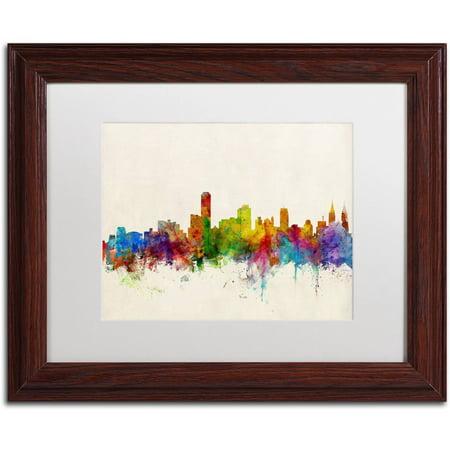 Trademark Fine Art 'Adelaide Australia Skyline' Canvas Art by Michael Tompsett, White Matte, Wood (Frame Shop Adelaide)