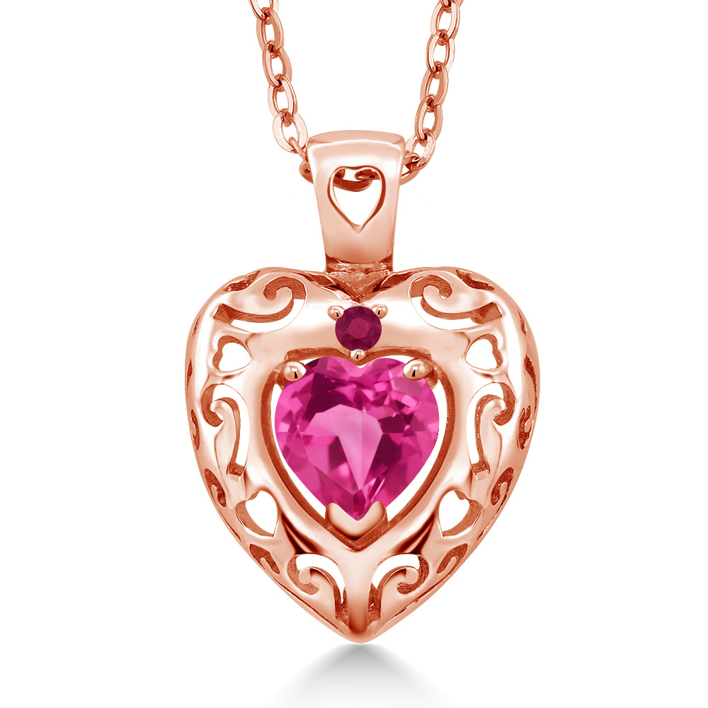 0.97 Ct Pink Mystic Topaz Red Ruby 18K Rose Gold Plated Silver Pendant by