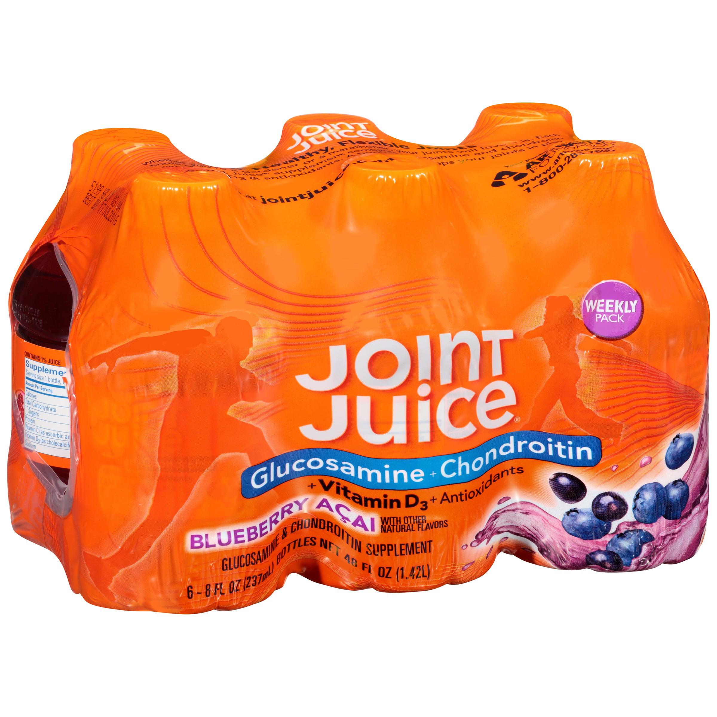 Joint Juice Glucosamine & Chondroitin Supplement, Blueberry Açai, 8 Fl Oz, 6 Ct