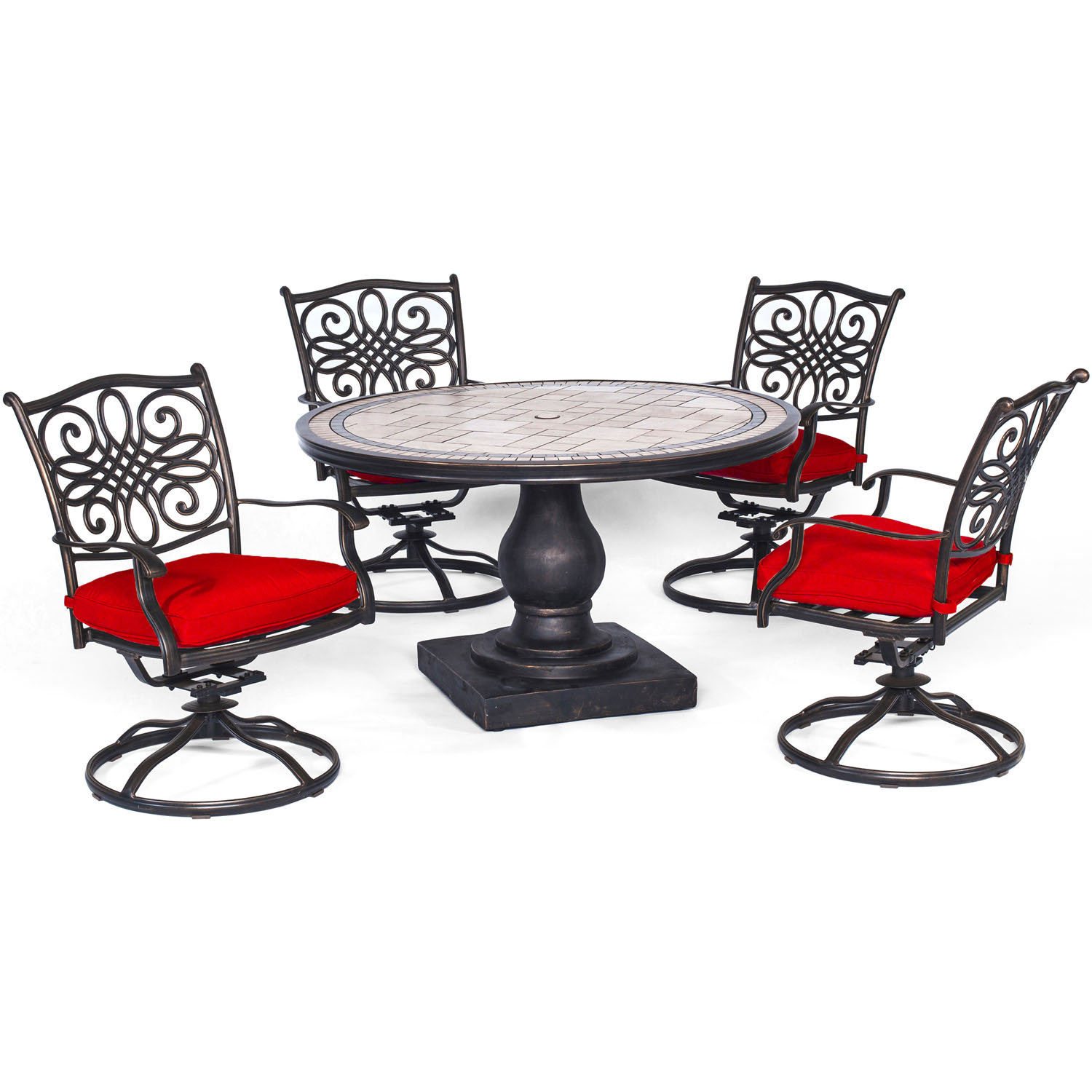 Hanover Monaco 5-Piece Dining Set in Red with Four Swivel ...