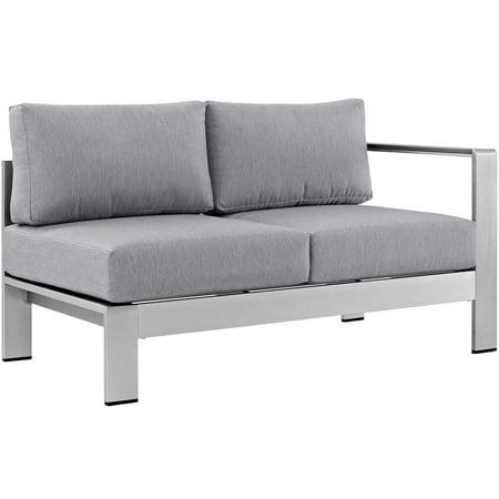 - Modern Contemporary Urban Design Outdoor Patio Balcony Right Arm Corner Loveseat Sofa, Grey Gray, Aluminum