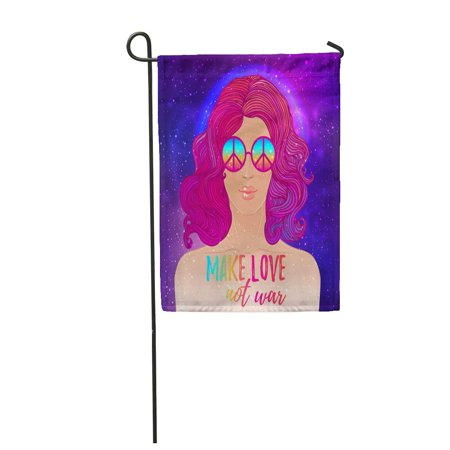 SIDONKU Hippie Girl in Sunglasses Peace Sign of Flower Child Over Night Sky Boho Chic Garden Flag Decorative Flag House Banner 28x40 inch - Hippie Flower Child