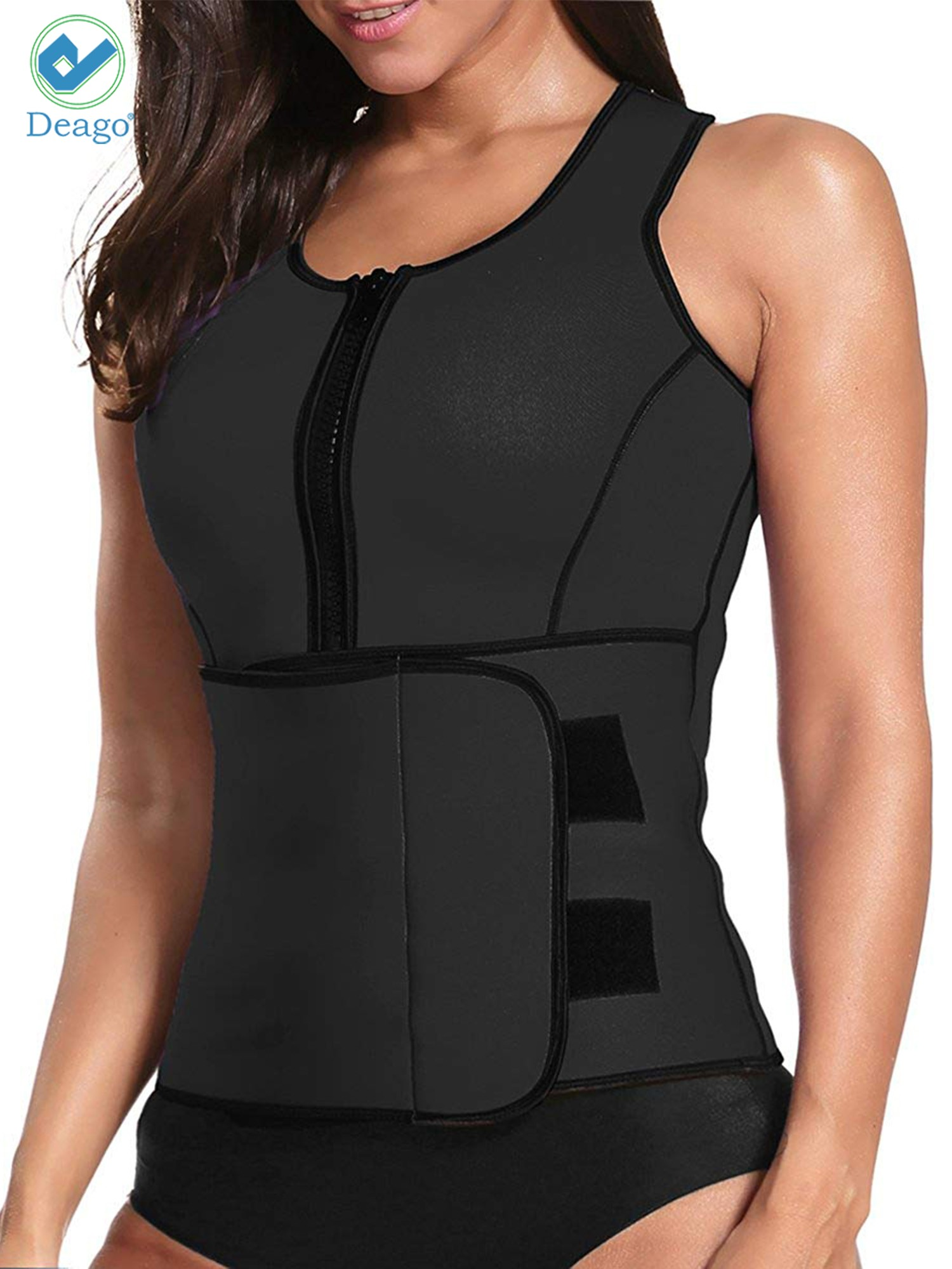 d117feae168 Deago - Deago Womens Neoprene Sauna Suit Waist Trainer Zipper Vest with  Adjustable Waist Trimmer Belt Body Shaper Corset - Walmart.com