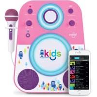 Singing Machine Kids Mood LED Glowing Bluetooth Sing-Along Speaker with Wired Youth Microphone Doubles as a Night Light, Pink/Purple