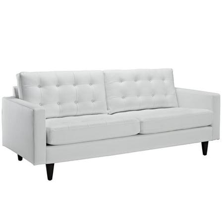 Modern Contemporary Living Room Leather Sofa White - Walmart.com