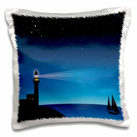 3dRose Pretty Blue Sea Scene With A Beaming Light house and Sail Boat Under Stars - Pillow Case, 16 by