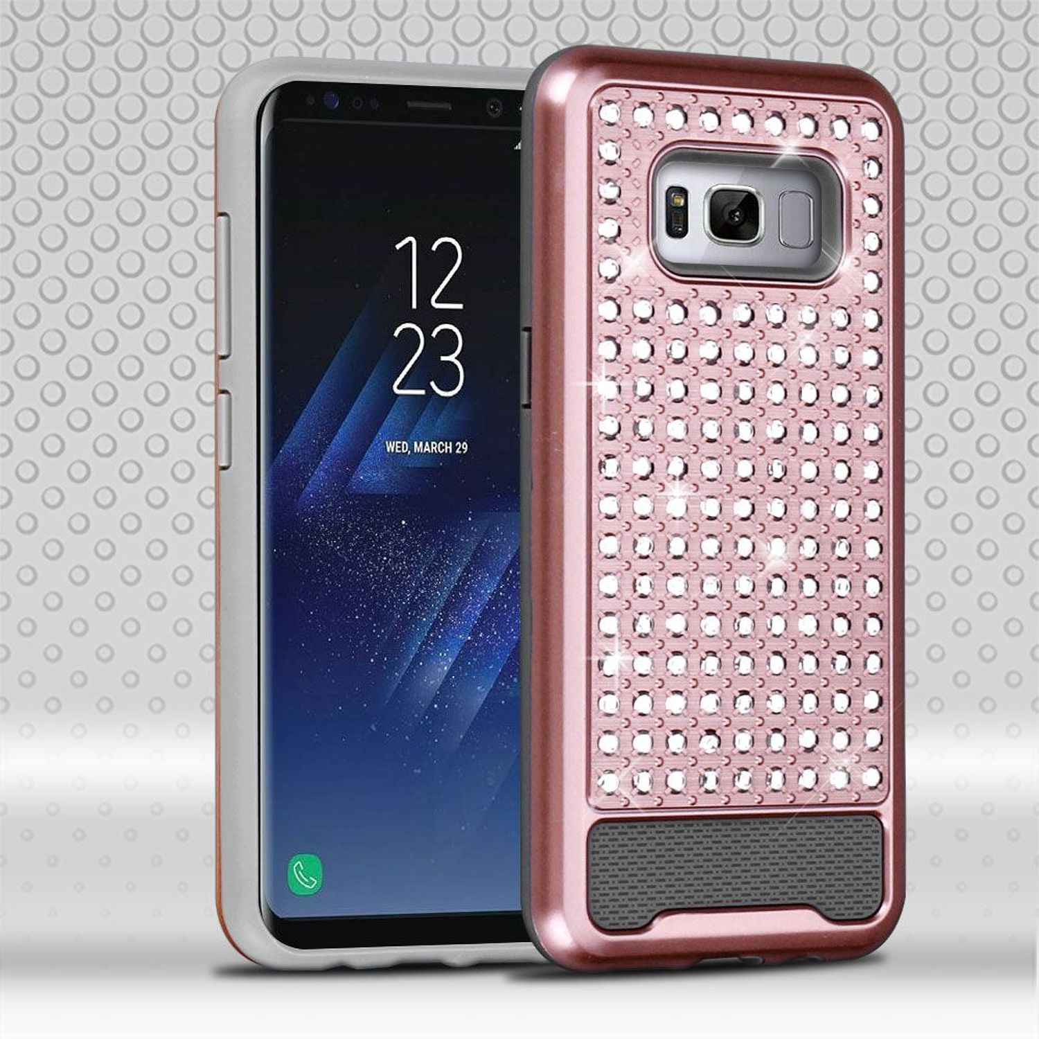 Insten Dual Layer [Shock Absorbing] Hybrid Rhinestone Diamond Bling Case Phone Cover For Samsung Galaxy S8 Plus S8+, Rose Gold/Gray