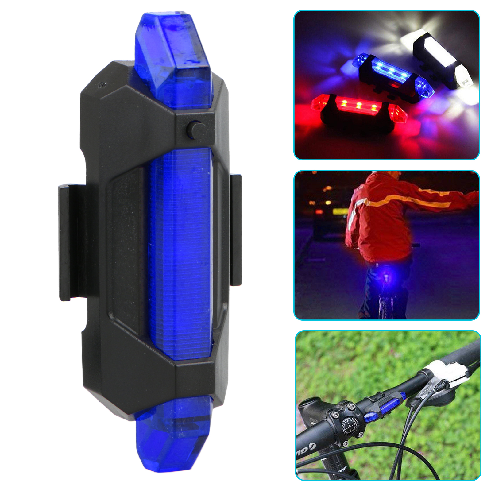 USB Rechargeable LED Bicycle Bike Cycling Front Tail Rear Light Warning Lamp Set