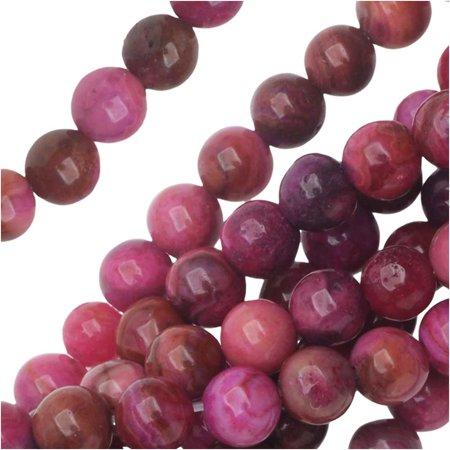 Crazy Agate Beads - Dakota Stones Gemstone Beads, Pink Crazy Lace Agate, Round 4mm, 8 Inch Strand