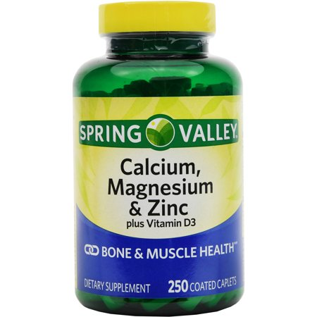 Spring Valley calcium magnésium et zinc os Santé Dietary Supplement 250 ct