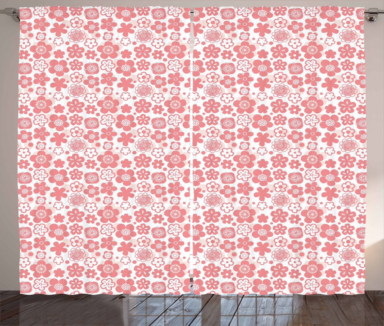 Cherry Blossom Curtains 2 Panels Set, Spring Nature