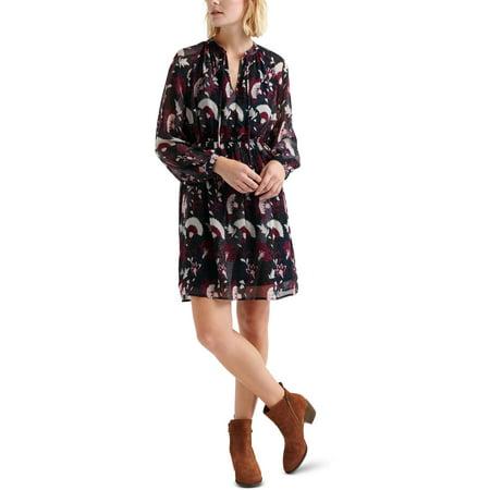 Lucky Brand Womens Petites Sheer Floral Print Casual Dress Blue XL Multi Blue Dress
