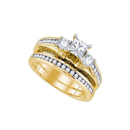 Size - 7 - Solid 14k Yellow Gold Princess Cut Round White Diamond Bridal 3 Stone Engagement Ring with Matching Wedding Band (1.25 (Radiant Cut Three Stone Diamond Engagement Rings)