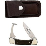 "Joy Enterprises FP20733 Fury Mustang Original Lockback Folding Knife and Hoof Pick, 3.75"" Closed with Leather Sheath"