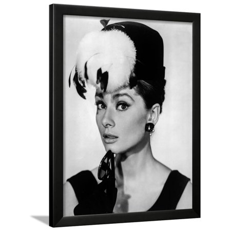 Audrey Hepburn Breakfast at Tiffany's Feather Hat Framed Print Wall Art By Movie Star - Breakfast At Tiffanys Star