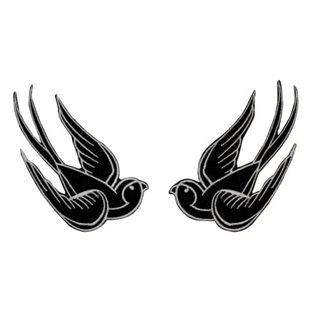 Set of 2 Black Swallow Patch 4IN Bird Tattoo Sparrow Embroidered Iron On - Tattoos Of Birds