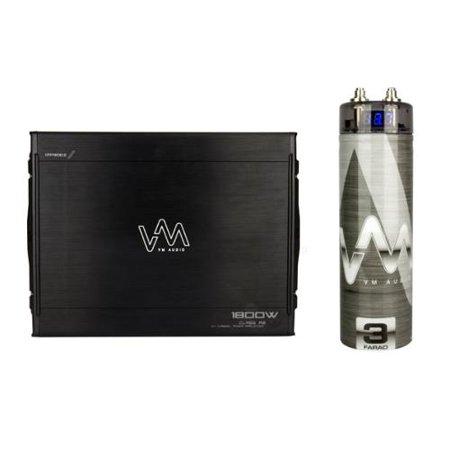 VM Audio SRA1800.2 1800W 2 Channel Car Amplifier Power Amp + 3 Farad Capacitor