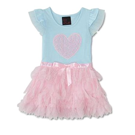 Girls Rule! Infant Baby Girls Blue & Pink Heart Tulle Petal Tutu Dress