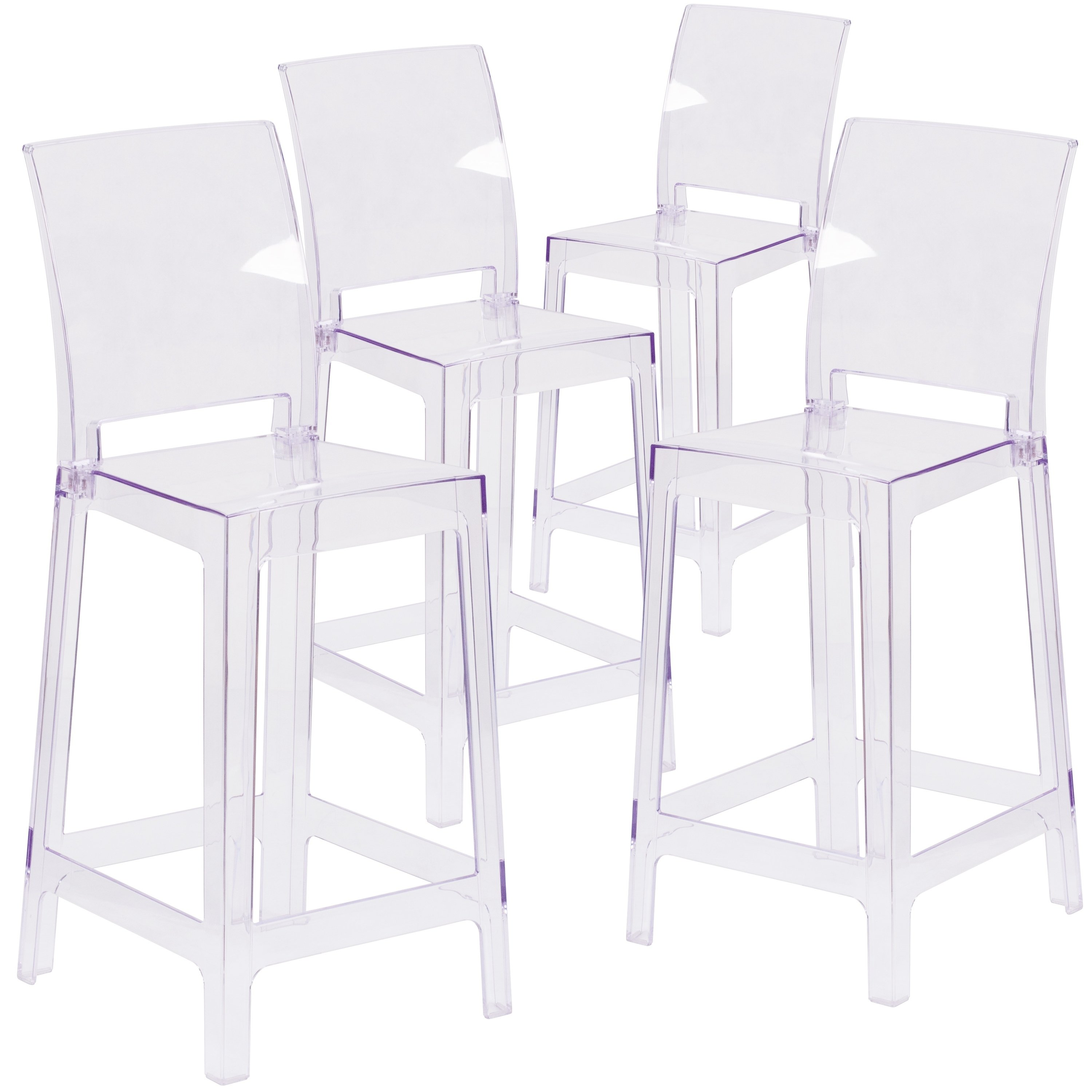 Lancaster Home  Square Back Clear Plastic Stool