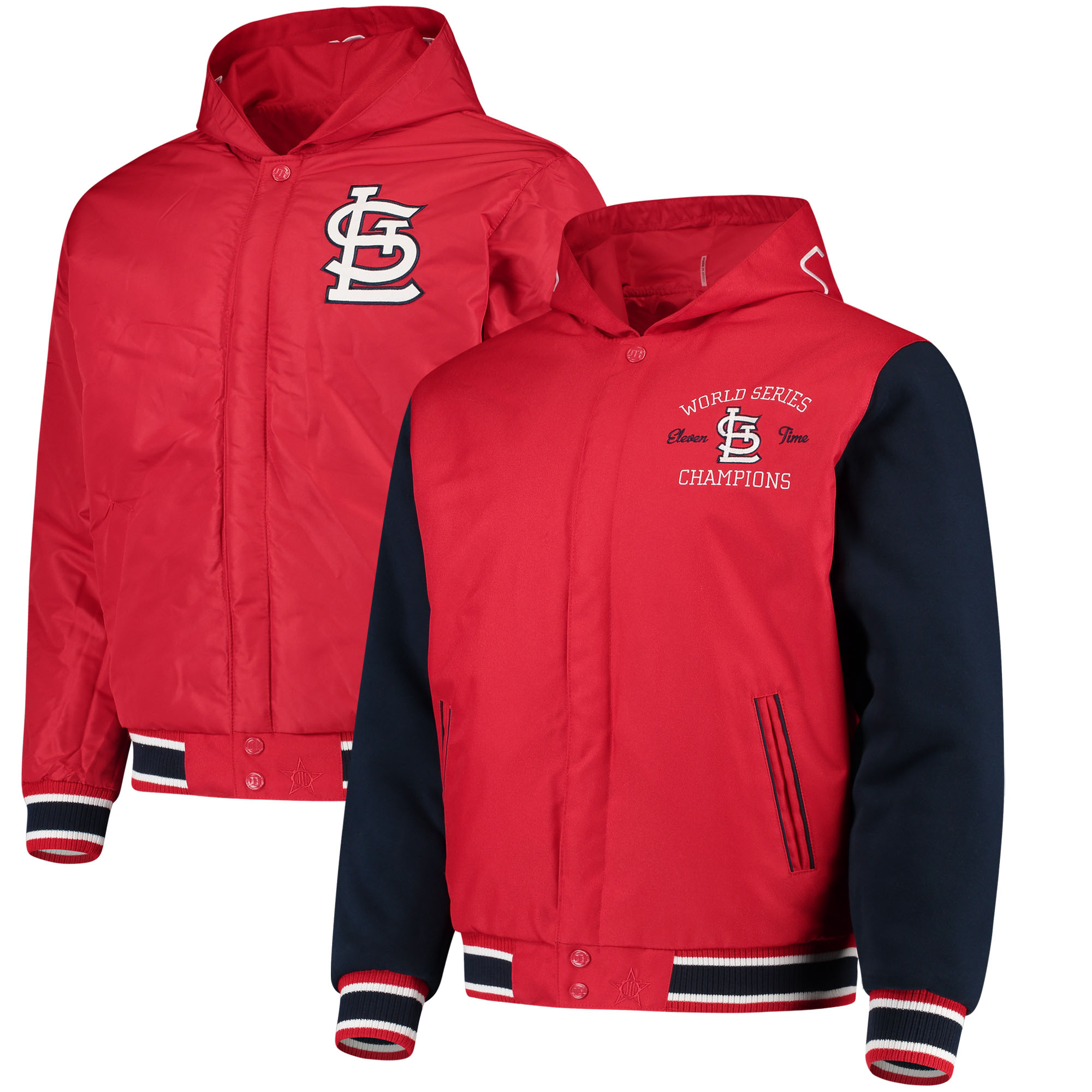 St. Louis Cardinals JH Design Reversible Poly-Twill Hooded Jacket - Red