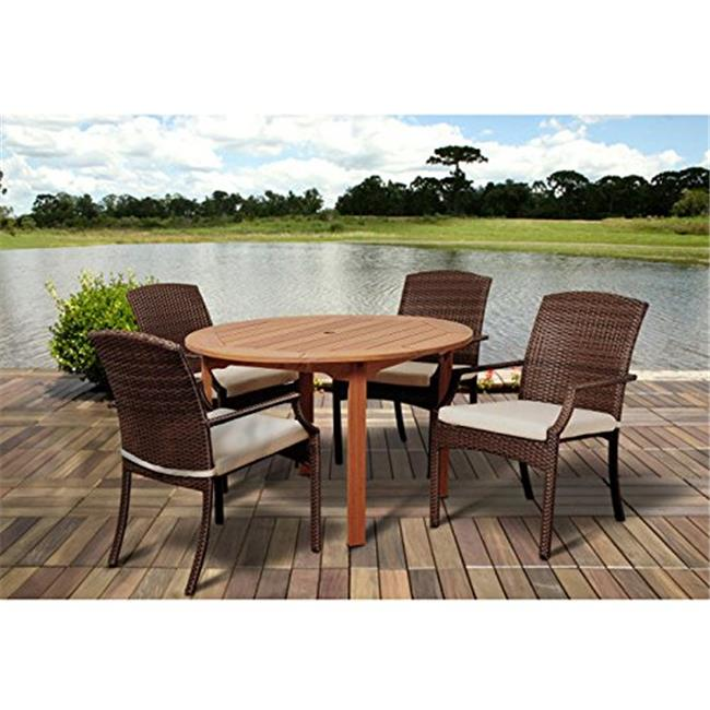 BT365-4SANI BR Warner 5 Piece Eucalyptus & Wicker Round Dining Set with Off-White Cushions