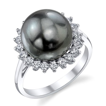 12mm South Sea Pearl Ring (12mm Tahitian South Sea Cultured Pearl & Diamond Sage Ring in 18K)