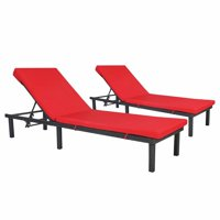 Kinbor Outdoor Adjustable Chaise Lounge Chair Set Patio PE Rattan Wicker Recliners Water Resistant Cushion Red
