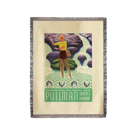 Pullman Vintage Poster (artist: Welsh) USA c. 1934 (60x80 Woven Chenille Yarn Blanket)