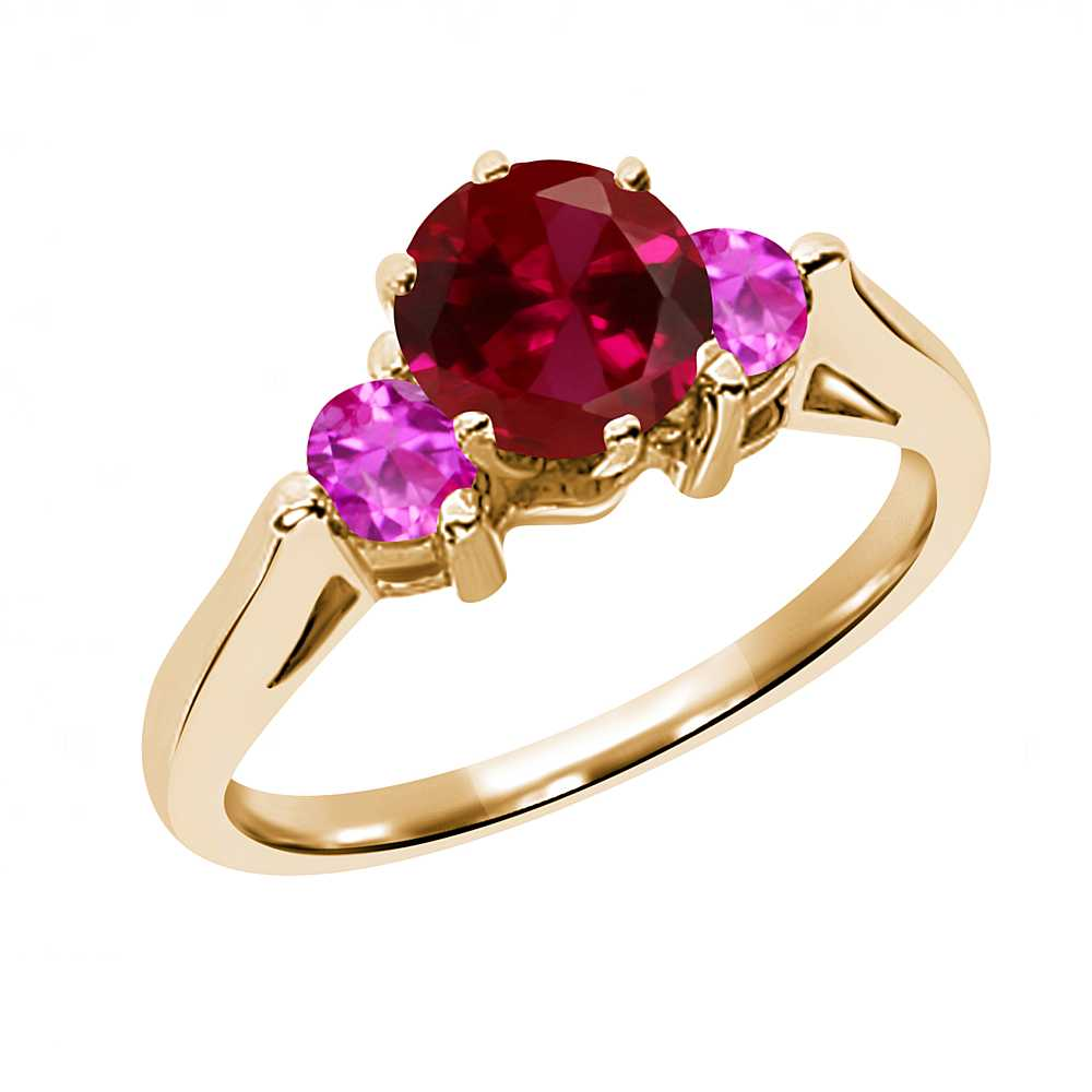 0.76 Ct Round Red Created Ruby Pink Sapphire 14K Yellow Gold 3-Stone Ring by