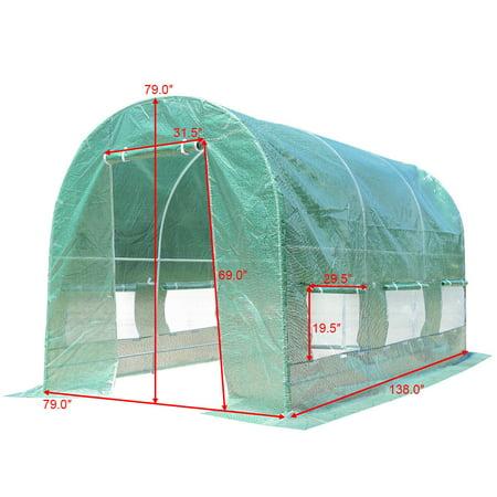 11.5'x 6.5'x 6.5' Walk-in Greenhouse Steel Frame Backyard Grow Tents 6 Windows - image 6 of 10