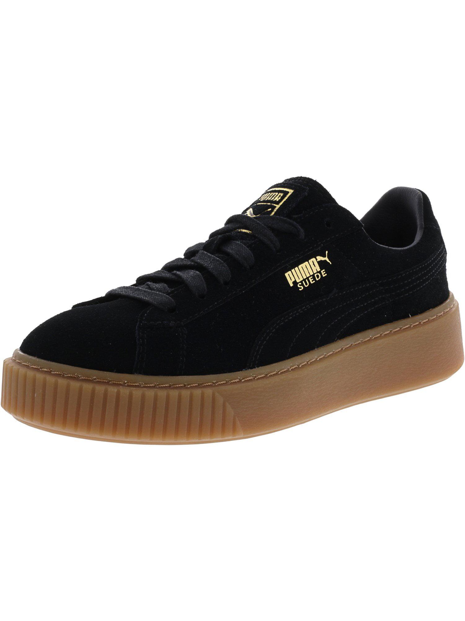 Puma Women's Suede Platform Sd Black / Gold Fashion Sneaker - 8M