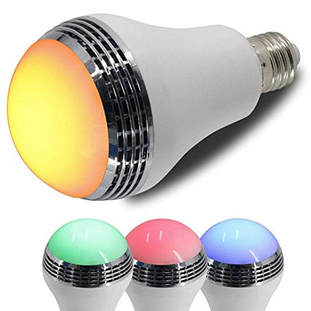 LED Color Mood Changing Energy Efficient Light Bulb w/Wireless Bluetooth Music Player Speakers Quality, Remote Control Included Adjust Multicolored Lights, Parties Dorm Rooms (Mood Music Light