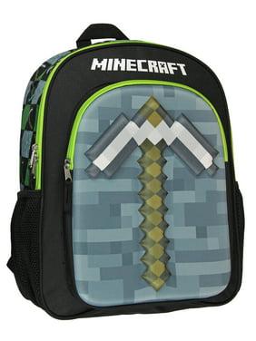 "Minecraft Backpack Kids 16"" 3D Molded Pickaxe Childrens School Bag"