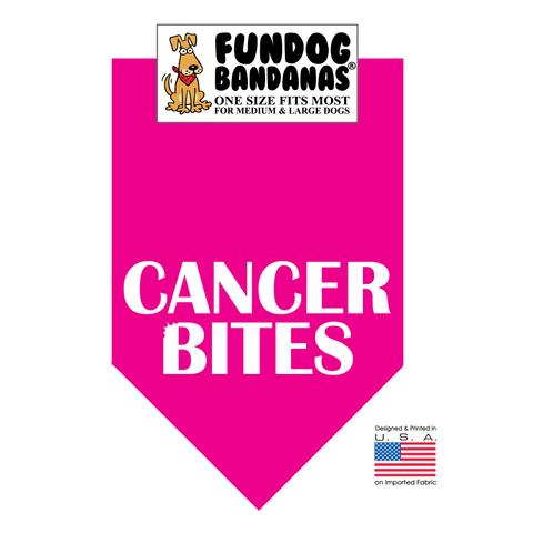 Fun Dog Bandana - Cancer Bites - One Size Fits Most for Med to Lg Dogs, hot pink pet scarf