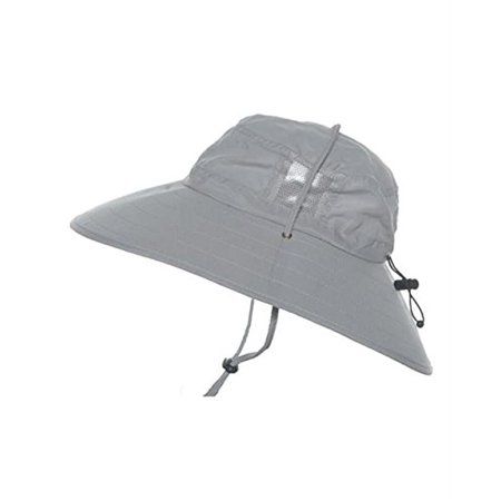 Sun Protection Zone Kids Unisex Lightweight Adjustable Outdoor Booney Hat (100 SPF, UPF 50+) - Light Gray