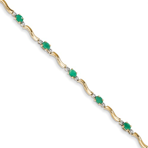 14k Yellow Gold Diamond and Emerald Bracelet. Carat Wt- 0.1ct. Gem Wt- 1.62ct by Jewelrypot