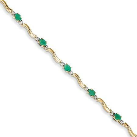 14K Yellow Gold Diamond And Emerald Bracelet  Carat Wt  0 1Ct  Gem Wt  1 62Ct