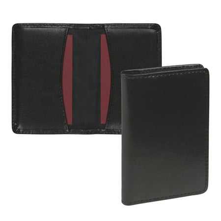 Walnut Business Card Holder (Regal Leather Business Card Holder, Holds 25 Cards, Black )